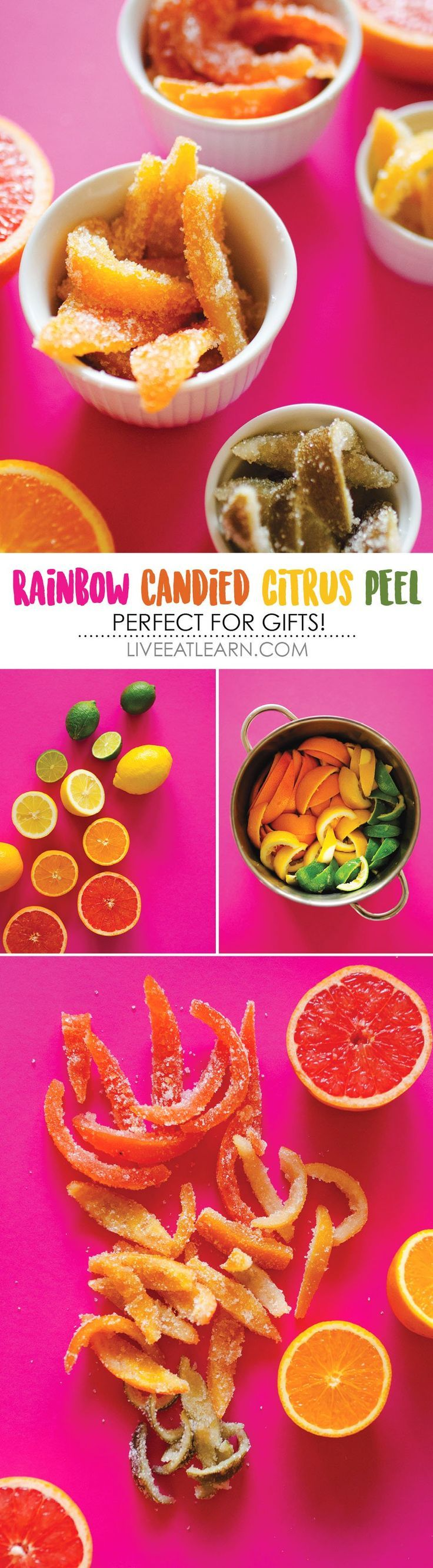This Rainbow Candied Citrus Peel recipe transforms your leftover citrus peels into a delectable holiday candy! Give them as a fun, flavor-packed homemade gift or chop them up for topping yogurt and cereal for yourself. If you're feeling overly decadent, d