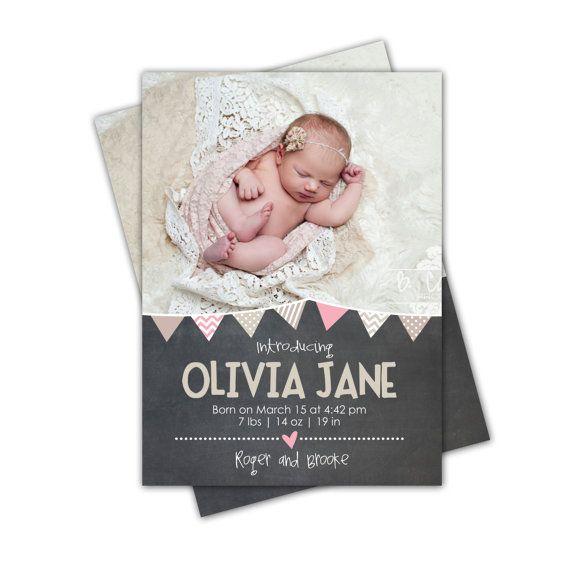 Chalkboard Pennant Banner Birth Announcement // Digital File // 5x7 on Etsy, $12.70 CAD