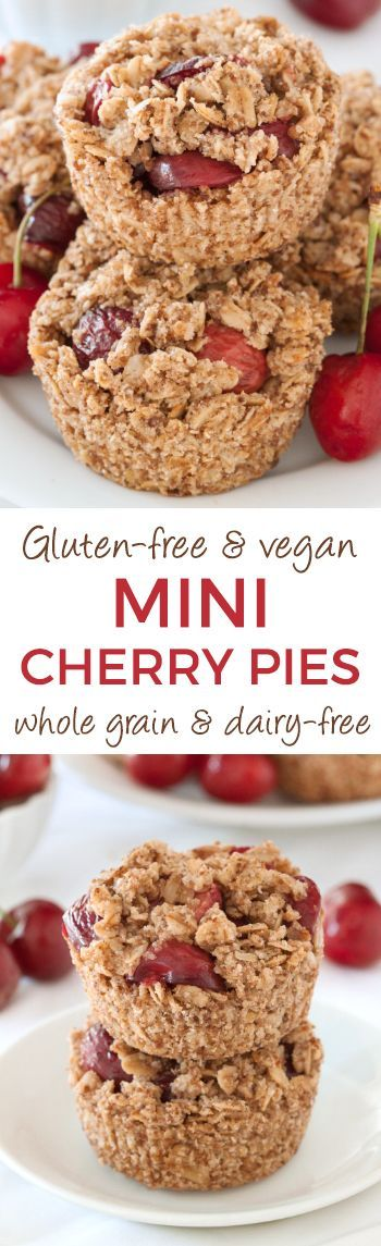 Easy Mini Cherry Pies {gluten-free, vegan, 100% whole grain and dairy-free}