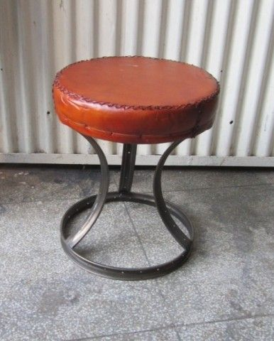 Leather top stool made from bicycle rims!  COOL!