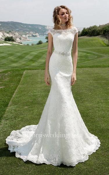 Bateau Neck Cap Sleeve Sheath Wedding Dress With Beaded Waist – 714646