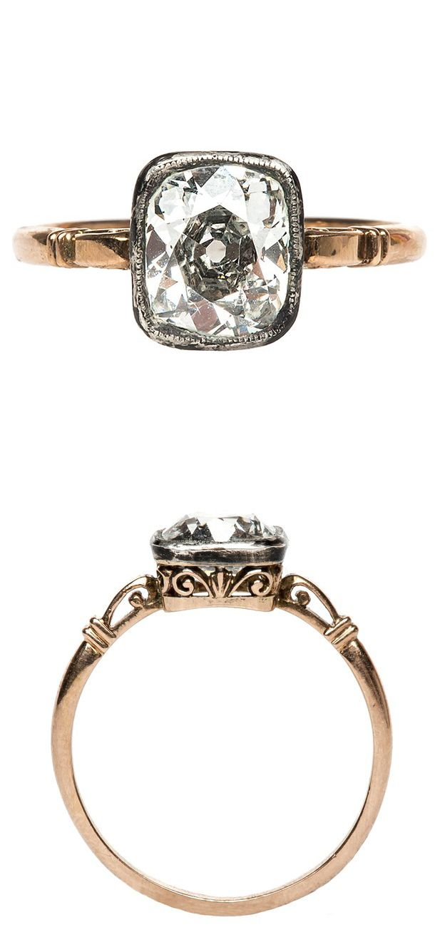Victorian diamond ring. It's gorgeous... I love the simple, delicate elegance of the band. The stone is way too huge, though