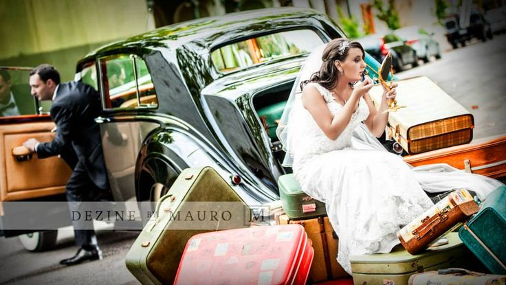 Wedding photos 1950s style bentley cars old suitcases lipstick mirror