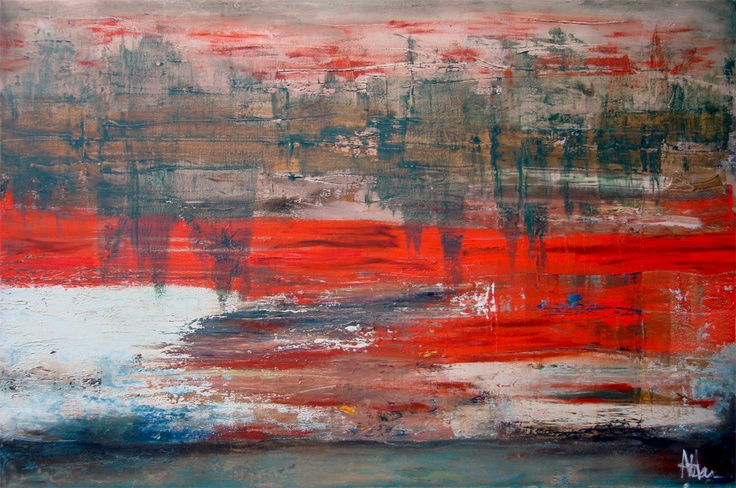 """'Redscape' - by Alma Horn. """"World War II caused greater destruction than any other war in history. The war took the lives of about 17 million soldiers and an even greater number of civilians, who died as a result of bombings, starvation, and deliberate campaigns of mass murder. This is a reflection of the soldiers, the devastation and grief.""""  800 x 1200 x 50 mm.   Oil on stretched canvas.  almahorn.blogspot.com"""
