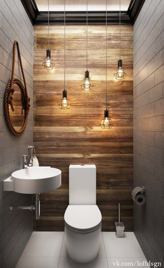 Toilettes d coration ampoules suspendues bois et for Bathroom design restaurant
