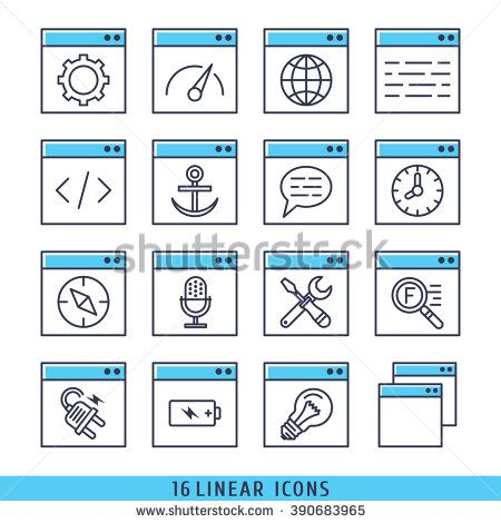 linear icons set vector illustration blue - stock vector