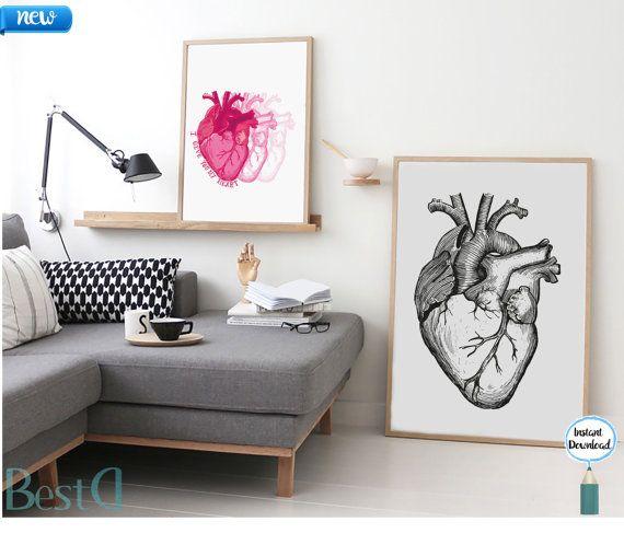Anatomic black heart printablewall art heart by BestDesignland