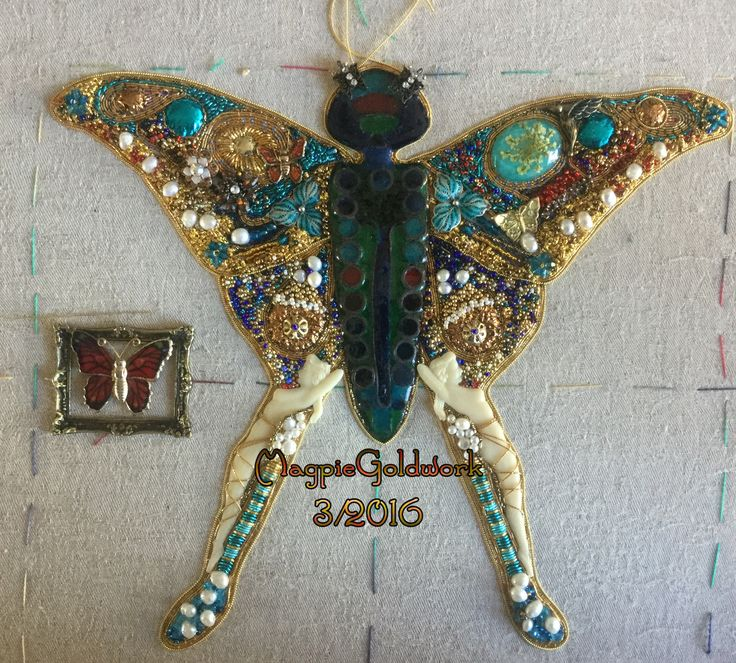Goldwork Butterfly. Using vintage jewelry,goldworkthreads,Pearls,swarovski & glass beads and enamel additions. Made by MagpieGoldwork. Work in progress.