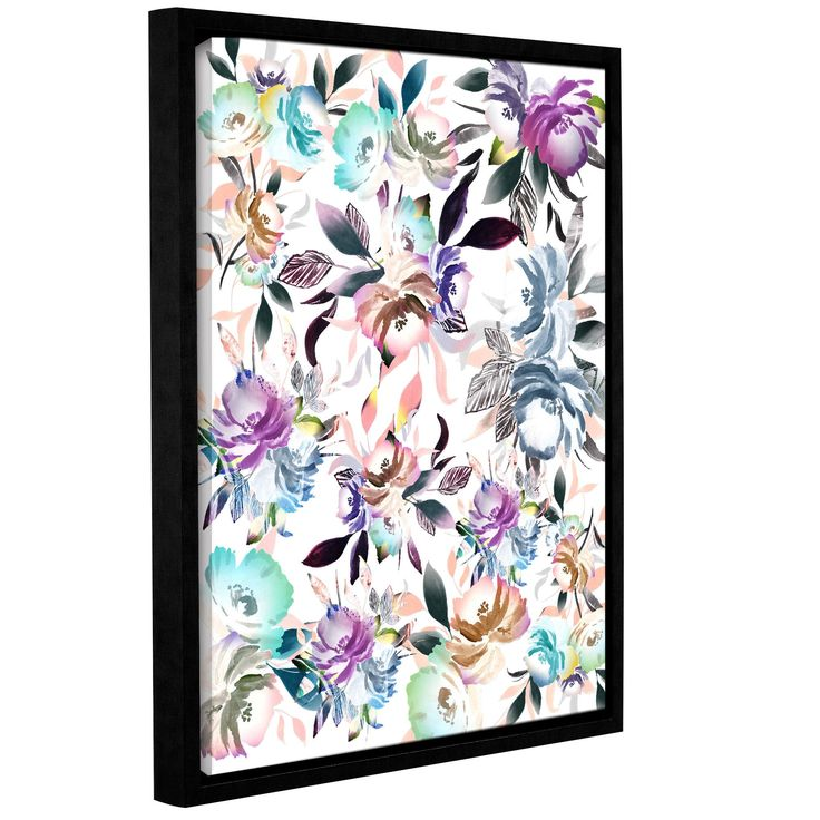 ArtWall Tara Moss's 'Floral Watercolor Collage' Gallery Wrapped Floater-framed Canvas