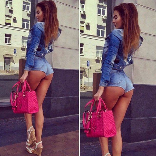 Upies sexy girl in tight short shorts wyrwal