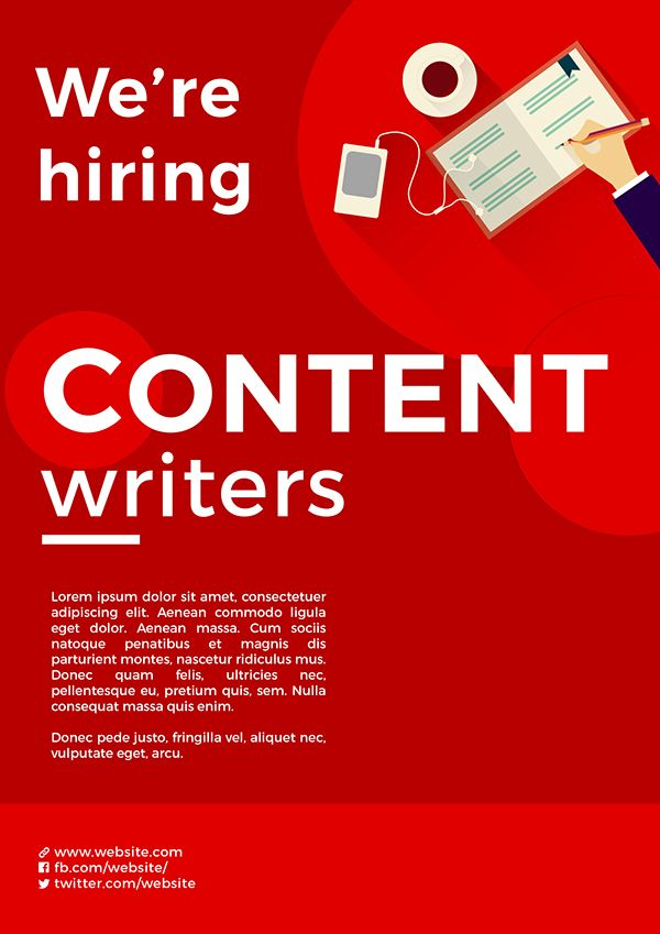 Content Writer Hiring Poster On Pantone Canvas Gallery Hiring