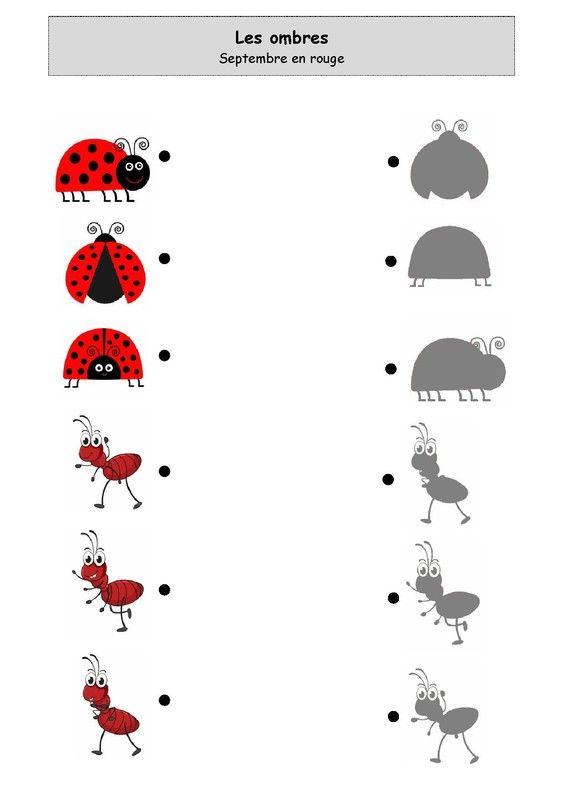 Fiche d'activité niveau maternelle de type association - Les ombres - septembre en rouge