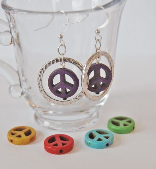 Our April make and take classes are ready to go!  Make these quick and colorful earrings with pewter rings and Magnesite peace signs.  Plenty of colorways for every day of the week!