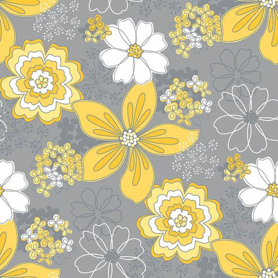 Gray And Yellow Floral Fabric, Gray Matters, Camelot Cottons, Fat Quarter