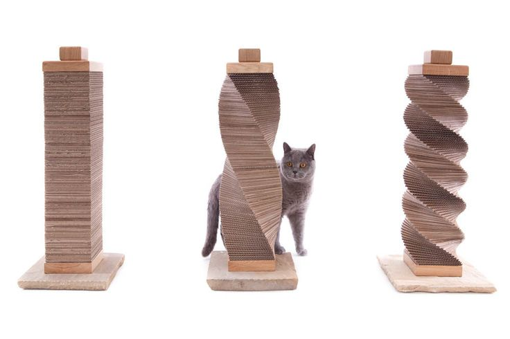 Original Cat Scratcher - recycled cardboard, oak and stone structure - by Charley and Billie by CharleyandBillie on Etsy https://www.etsy.com/listing/198389608/original-cat-scratcher-recycled