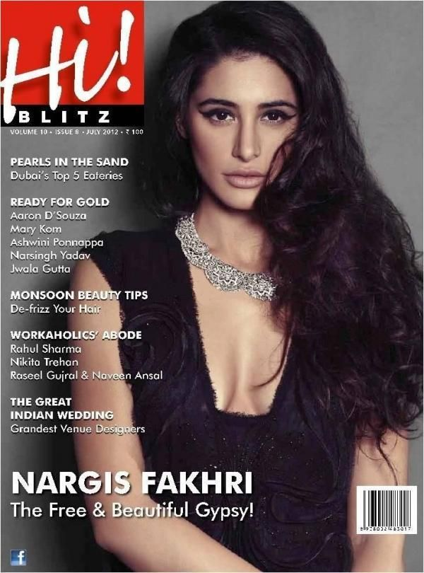 Nargis Fakhri on The Cover of Hi Blitz Magazine India July 2012.   Bollywood Cleavage