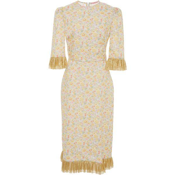 Metallic Chiffon Festival Dress | Moda Operandi ($935) ❤ liked on Polyvore featuring dresses, flower print dress, floral print sheath dress, floral print chiffon dress, sheath dresses and white dress