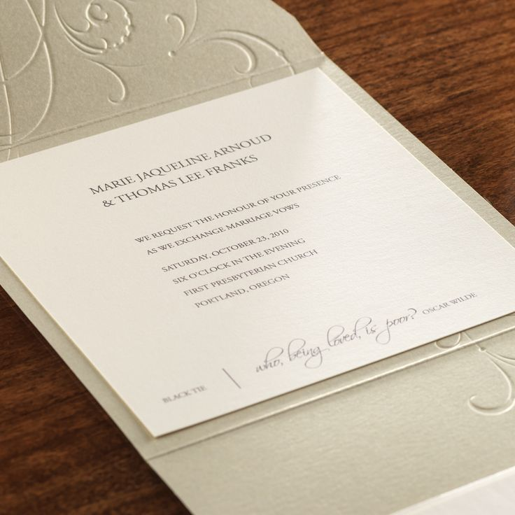how to emboss wedding invitations diy%0A Love the elegant simplicity of this invite