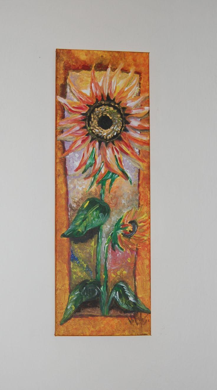 Malba akryl na plátně. Slunečnice