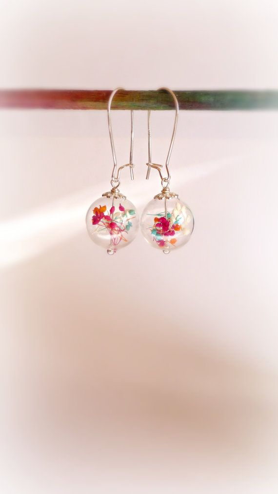 Real dried flowers in glass orb silver by FlowerGiftByNature