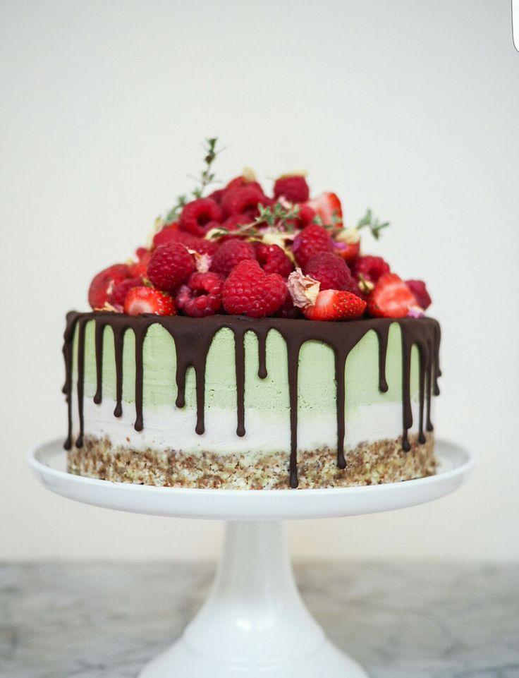 Matcha Raspberry & Rose Chocolate Cake #vegan #glutenfree #refinedsugarfree #fromthewild #adelaidecakemaker www.fromthewild.com.au