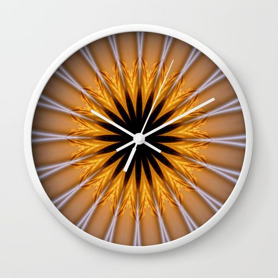 Golden Brown with a Twist Wall Clock