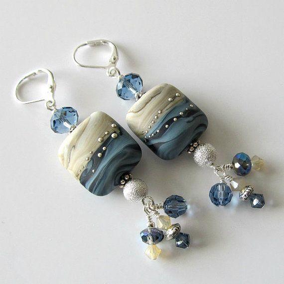 Lampwork beaded earrings, denim blue and sand, silver earrings, beaded jewelry...Forever in Blue Jeans