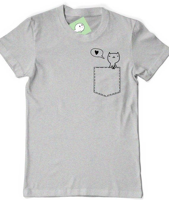 Pocket Cat Shirt Kitty Lover T-Shirt T Shirt Tee Mens Womens Ladies Funny Gift Present Adorable Cute Kitten Heart Shirt Pocket Pet Friend