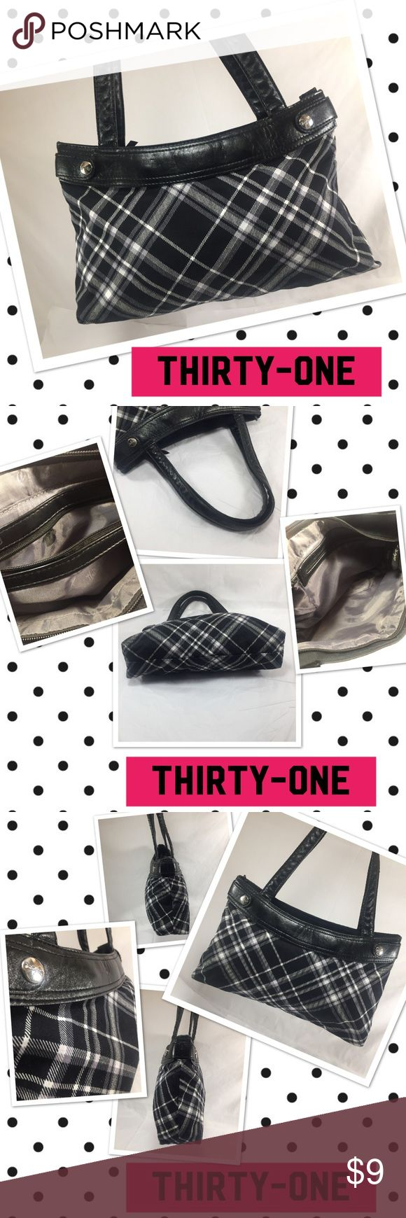 """THIRTY-ONE Black and White Plaid Handbag THIRTY-ONE Black and White Plaid Handbag.  15x8.5x3.5"""" with 8.75"""" strap drop.  Unknown materials but feels like cotton and manmade materials.  Silver tone hardware.  One interior zip pocket, one slip pocket, and overall zip closure.  Very nice preowned condition. Orig. $28. thirty-one Bags"""