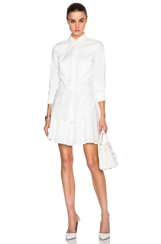 Image 1 of DEREK LAM 10 CROSBY Long Sleeve Poplin Shirt Dress with Ruffle  Skirt in