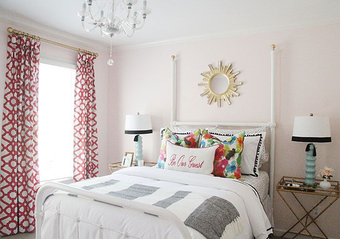 charming design red wall bedrooms | Charming in Charlotte: One Room Challenge: Guest Room ...