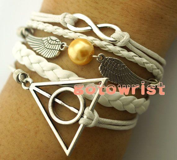 Silver Infinity Harry Potter Deathly Hallows Two Wings Bracelet Wax Cords Leather Bracelet Personalized Bracelet