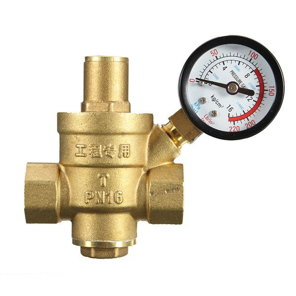 Dn32 1 2 Inch Brass Water Pressure Regulator Valve With Gauge Pressure Water Pressure Reducing Valve Other Accessories Brass Pressure