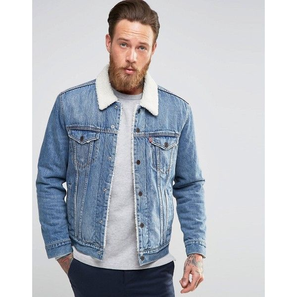 Levi's Denim Borg Lined Jacket Buckman Type 3 Trucker (€150) ❤ liked on Polyvore featuring men's fashion, men's clothing, men's outerwear, men's jackets, blue, tall mens jackets, mens blue jean jacket, mens lined denim jacket, mens sherpa lined jacket and mens tall denim jacket
