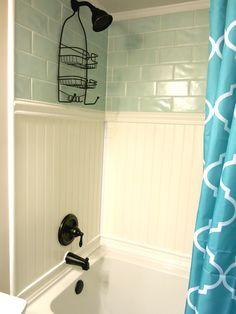 Plastpro veranda vinyl planking shower surround, PVC wainscoting, plastic beadboard, bathroom ideas, waterproof crown molding, oil rubbed bronze shower fixtures, subway tiles