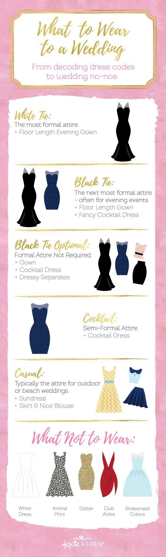 """It's important to understand dress codes. Yes, we all know the difference between black tie and cocktail attire, but what about white tie? And how casual is """"casual"""" attire? From decoding dress codes to wedding no-nos, we're here to help you decide what to wear to a wedding! 