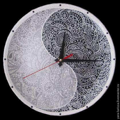 """Часы для дома ручной работы. Ярмарка Мастеров - ручная работа """"Инь-Янь"""" Часы настенные интерьерные. Handmade."""