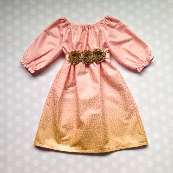 Girls Fall Dress  Girls Gold Dress  Dresses for by crocodilecrunch