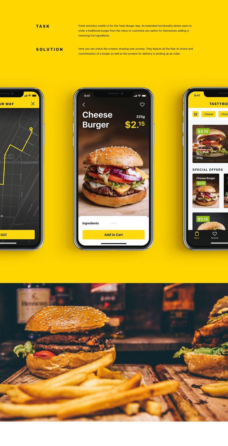 Mobile User Interface Design: Tasty Burger App on Behance