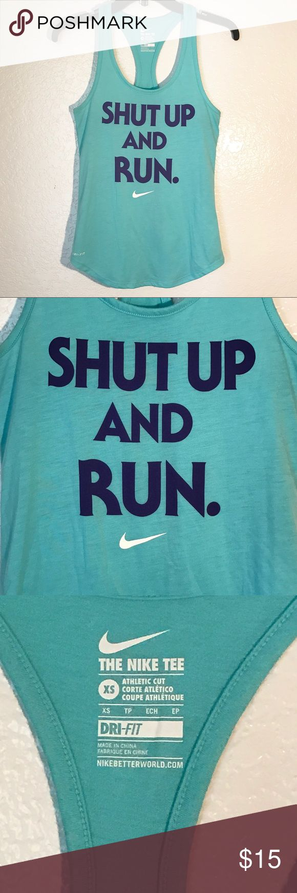 """Nike Dri Fit Tee Athletic Cut Tank Top Shirt XS Nike shirt Sz XS// in great condition no stains or rips// smoke/pet free home  15"""" bust 26"""" length Nike Tops Tank Tops"""