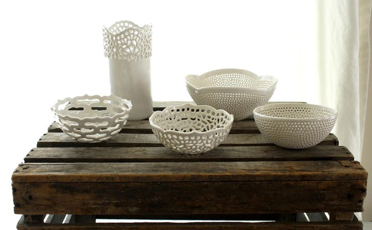 lace pottery Isabelle Abramson  handmade