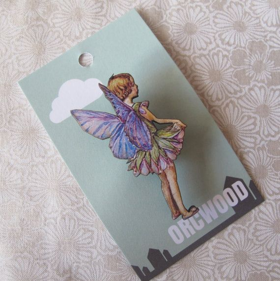 Wood Brooch Flower Fairy Lilac by orcwood on Etsy, $6.00