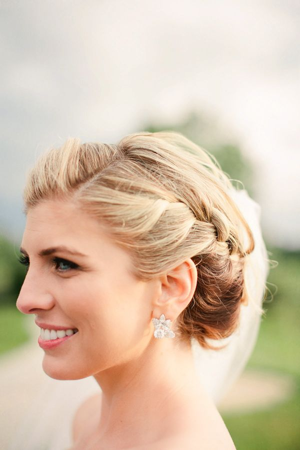 Braided bridal hair by Bridal Beauty Chicago, photo by Katherine Salvatori Photography | via junebugweddings.com