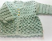 Newborn baby crochet coat jacket Duck egg Organic cotton clothes NB 0 -3m Preemie infant shower gifts girls clothing fairtrade eco friendly