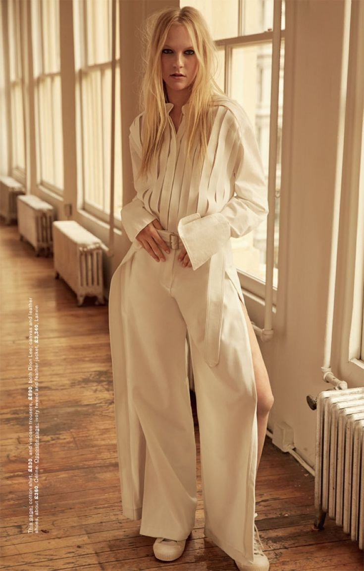 Emilie Evander wears Dion Lee cotton shirt and viscose trousers with Celine shoes