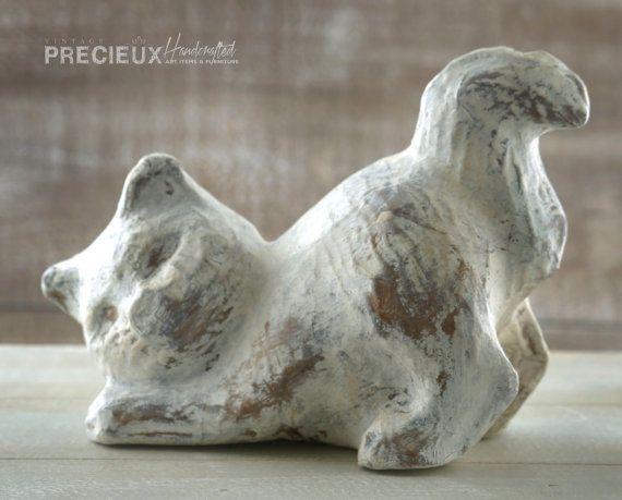 Papier Mache Kitty Cat sculpture  Shabby Chic by vintagePRECIEUX