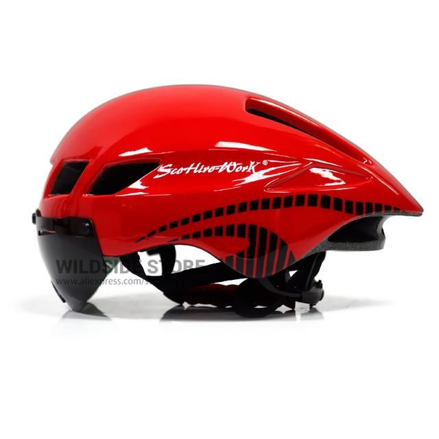 New Bicycle Helmet With Glasses 4 Colors Ultralight MTB Road Bike Helmet 57-61cm Adults Goggleses Casco Ciclismo Black Blue