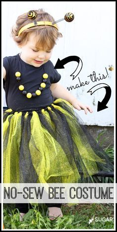 How to make a no sew bee last minute Halloween costume @SugarBeeCrafts #MichaelsMakers