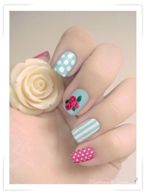 #nail art design with vintage roses, dots, stripes
