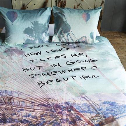 Beddinghouse Road Trip dekbedovertrek - www.smulderstextiel.nl - I don't care how long it takes me, but I'm going somewhere beautiful - #beddengoed #bedding #sheets #lifestyle #bedroom #slaapkamer #tekst #dessin #overtrek #lifestyle #interior